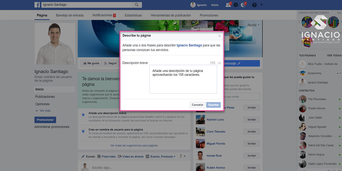 como crear pagina empresa facebook fan page descripcion