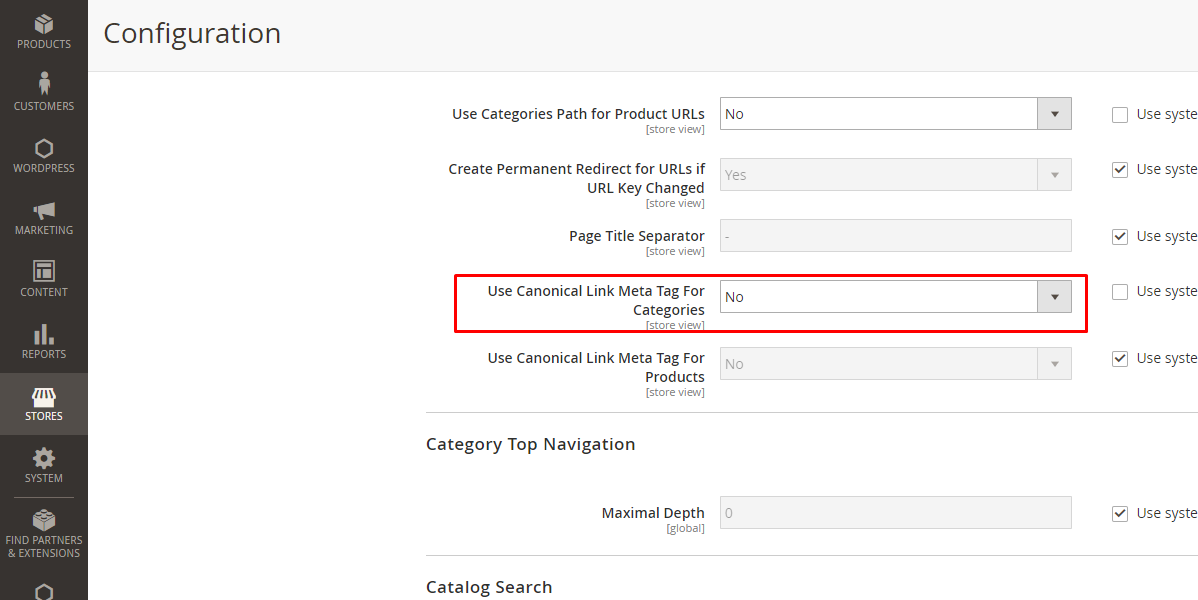 canonical panel magento